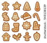 set of gingerbread christmas... | Shutterstock .eps vector #543138139