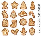 set of gingerbread christmas... | Shutterstock .eps vector #543138139
