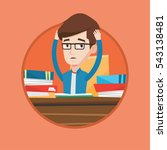stressed student studying with... | Shutterstock .eps vector #543138481