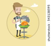 hipster man cooking chicken on... | Shutterstock .eps vector #543138595