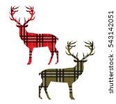 two deer on tartan. vector... | Shutterstock .eps vector #543142051
