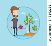 man watering trees of three... | Shutterstock .eps vector #543142291