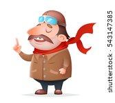aviator pilot thick mascot... | Shutterstock .eps vector #543147385