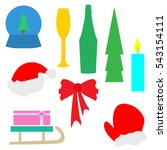 flat christmas set  mitten  fir ...   Shutterstock .eps vector #543154111