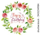 watercolor floral wreath with... | Shutterstock . vector #543154984
