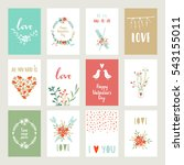 valentines day set cards.... | Shutterstock .eps vector #543155011