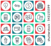 set of 16 traveling icons.... | Shutterstock .eps vector #543155599