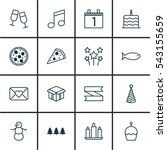set of 16 happy new year icons. ... | Shutterstock .eps vector #543155659