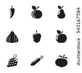 set of 9 editable food and... | Shutterstock .eps vector #543167584