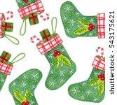 christmas watercolor pattern... | Shutterstock . vector #543175621
