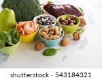 Stock photo healthy food sources of folic acid vitamin b 543184321