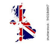 united kingdom map and flag in... | Shutterstock .eps vector #543186847
