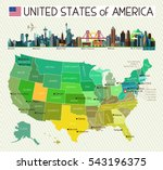 map of the united states of... | Shutterstock .eps vector #543196375