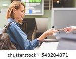 happy girl handing over...   Shutterstock . vector #543204871