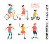 summer activities cartoon set.... | Shutterstock .eps vector #543212845
