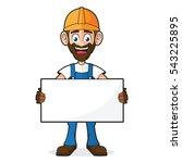 handyman holding blank white... | Shutterstock .eps vector #543225895