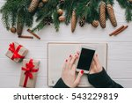 girl holding a phone. christmas ... | Shutterstock . vector #543229819