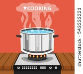 boiling water in pan. cooking... | Shutterstock .eps vector #543233221