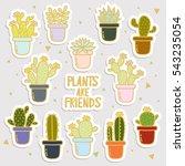 big set of cute cartoon cactus...   Shutterstock .eps vector #543235054