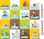 water sport icons set. flat... | Shutterstock .eps vector #543238957