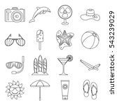 summer rest icons set. outline... | Shutterstock .eps vector #543239029