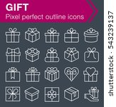 set of thin line gift icons for ...