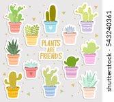 big set of cute cartoon cactus... | Shutterstock .eps vector #543240361