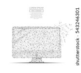 Grey COMPUTER with polygon line on black abstract background. Polygonal space low poly with connecting dots and lines. Connection structure. Vector science background. | Shutterstock vector #543246301