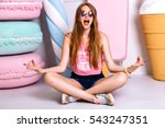 cheerful funny girl sitting on... | Shutterstock . vector #543247351