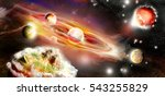solar system with burning and... | Shutterstock . vector #543255829