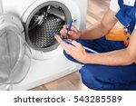 plumber with clipboard near... | Shutterstock . vector #543285589