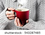 hot red cup in woman's hands | Shutterstock . vector #543287485