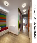 modern hall interior with large ... | Shutterstock . vector #543294817