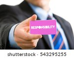 Small photo of Responsibility Word, Hand holding piece of paper, Business Concepts.