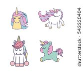 drawing cute set unicorns icon... | Shutterstock .eps vector #543320404