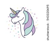 drawing cute unicorn icon... | Shutterstock .eps vector #543320695