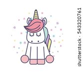 drawing cute unicorn icon... | Shutterstock .eps vector #543320761