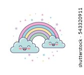 cute clouds and rainbow drawing ... | Shutterstock .eps vector #543320911