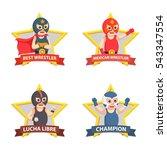 lucha libre emblem set   Shutterstock .eps vector #543347554