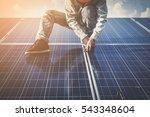 engineer or electrician working ... | Shutterstock . vector #543348604