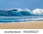 Big breaking ocean wave on a...