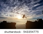 silhouette freedom young man is ... | Shutterstock . vector #543354775