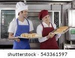 baking bread in an industrial...   Shutterstock . vector #543361597