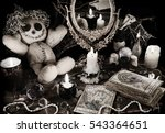 magic ritual with voodoo doll ... | Shutterstock . vector #543364651