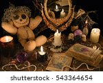 magic ritual with voodoo doll ... | Shutterstock . vector #543364654