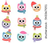 cats with winter clothing... | Shutterstock . vector #543367051