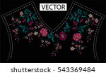 embroidery ethnic flowers neck... | Shutterstock .eps vector #543369484