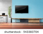 tv on light blue wall with... | Shutterstock . vector #543383704
