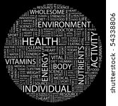 health. word collage on black... | Shutterstock .eps vector #54338806