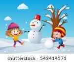 two children making snowman in... | Shutterstock .eps vector #543414571